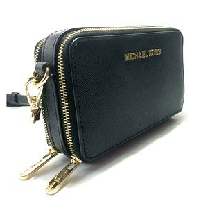 MICHAEL KORS Black Double Zipper Box Crossbody